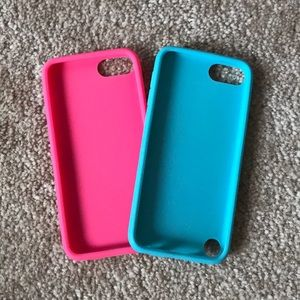 Accessories - one pink and one blue silicone ipod 5&6 phone case
